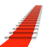 Staircase with red carpet Stock Images