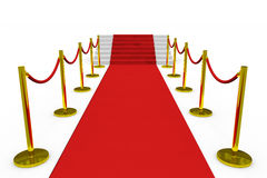 Staircase with red carpet. Royalty Free Stock Photo
