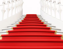 Staircase with red carpet Royalty Free Stock Photography
