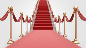 Staircase with red carpet 3D. Success Royalty Free Stock Photos