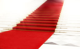 Staircase with red carpet, illuminated by light Royalty Free Stock Image