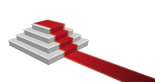 Staircase with Red Carpet, Vector Illustration. Royalty Free Stock Photography