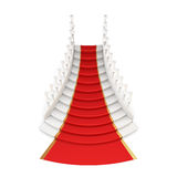 Staircase with red carpet  on white background. 3d. Royalty Free Stock Photo