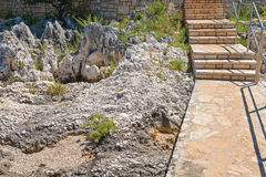 Staircase on the rocky beach in Istria Royalty Free Stock Image