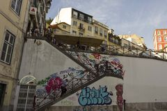 Staircase from Rossio Station to Calcada do Duque in Bairro Alto quartier in Lisbon Stock Image