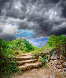 Staircase in the ruins of the ancient cave city Stock Photography