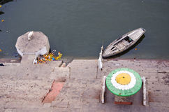 Staircase on sacred Ganges river coast in Varanasi, India Royalty Free Stock Photography