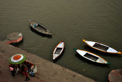 Staircase on sacred Ganges river coast in Varanasi, India Stock Image