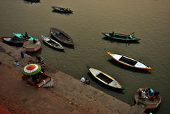 Staircase on sacred Ganges river coast in Varanasi, India Stock Photo