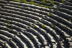 Staircase Segesta Amphitheatre. Segesta Amphitheatre ladder on the island of Sicily in Italy Stock Photo