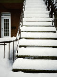 Staircase after snowstorm Stock Images