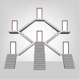 Staircase space construction with doors template concept Royalty Free Stock Photos
