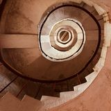 A staircase spiralling upward in a lighthouse. At Kodi Beach Stock Photography