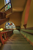 Staircase and Stained Glass. In Old Church Royalty Free Stock Photo