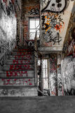 Staircase, stairs in run down building with graffiti - Stock Photos