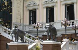 The staircase & the statues of The Grand Palace in Bangkok, Thailand, Asia Stock Photo