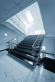 Staircase with a steel handrail Royalty Free Stock Photography