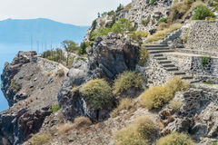 Staircase on a steep hillside on the island of Santorini Stock Photography