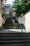 Staircase on street in Gien town in summer. Travel to France - staircase on street in Gien town in summer day Royalty Free Stock Images