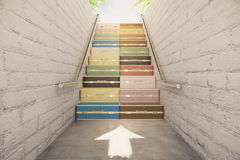 Staircase of suitcases concept stock images