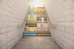 Staircase of suitcases with differnt countries concept Stock Photos
