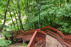 Staircase in a summer park royalty free stock image