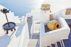 Staircase and terraces of Santorini Royalty Free Stock Photos