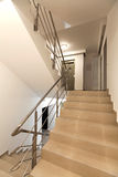 Staircase with tiled stairs. A empty view of staircase with tiled stairs in a new block. Vertical shoot royalty free stock photography