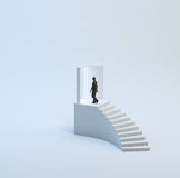 Staircase with a tiny man Royalty Free Stock Photos