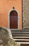 Staircase to arched church entrance Stock Photos