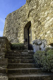 Staircase to the castle door stock photography