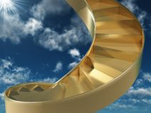 Staircase to heaven. 3d render of golden flight of steps Stock Photo