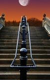 Staircase to the Moon. Rain soaked steps at Night in London lit by the Moon royalty free stock photos