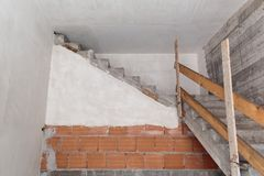 Staircase to nowhere. Concrete staircase leading to nowhere stock photo