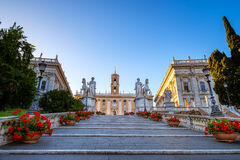 Staircase to Piazza del Campidoglio on the top of Capitoline Hill. With the facade of Palazzo Senatorio, Rome, Italy Royalty Free Stock Photos