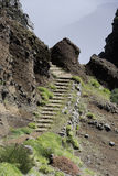 Staircase to the pico arieiro on madeira island Royalty Free Stock Photo