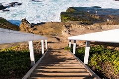 Staircase to Rock Formations at Windansea Beach. In La Jolla, California Royalty Free Stock Image