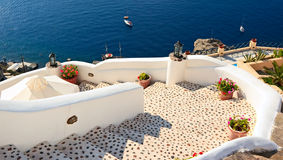 Staircase to sea. Spiral staircase leading to sea, Santorini, Greece Royalty Free Stock Image