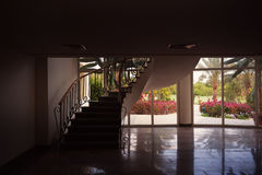 Staircase to the second floor in the hotel lobby Royalty Free Stock Image