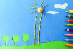 Children`s play :staircase to the sun. Staircase to the sun on blue background Stock Image
