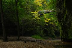 Staircase to the trails.Light entering the Lower Dells. Morning light entering the Lower Dells.  Matthiessen State Park, Illinois, USA Royalty Free Stock Image