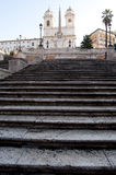 Staircase to Trinita dei Monti church. View of the long stairway leading from piazza di Spagna to the church of Trinita dei Monti stock photos