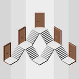 Staircase way with five doors entrances Royalty Free Stock Photos