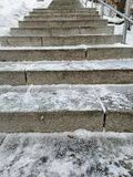 Staircase in winter park royalty free stock photos