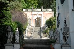 Free Staircase With Statues That Leads To A Small Temple In A Villa In Monselice Through The Hills In The Veneto (Italy) Royalty Free Stock Photos - 61098278