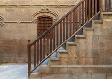 Staircase with wooden balustrade leading to Zeinab Khatoun historic house, Old Cairo, Egypt royalty free stock photo