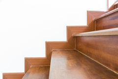 Staircase wooden. Home building interior empty room design staircase concrete top wood stainless steel handrails stock photography