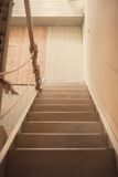 Staircase in a wooden house Stock Photo