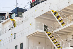 Staircases on ship in sea Stock Photo