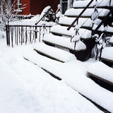 Staircases after snowstorm Stock Images